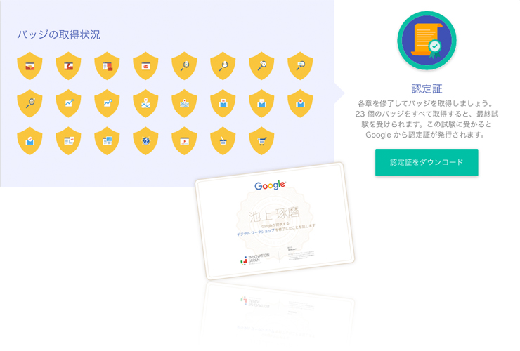 Googleデジタルワークショップの認定証